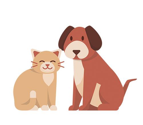 ilustración de gato y perro